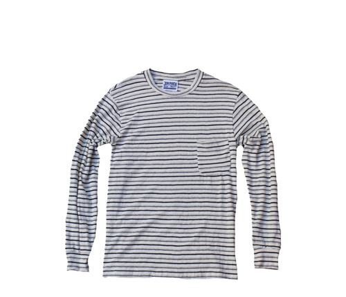 Stripe Long Beach Pocket Tee (Unisex) - White Ground