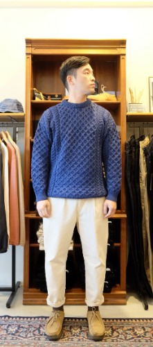 Merino Wool Crew Neck Sweater(denim)